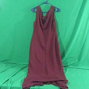 St John sz 10 maroon full length dress w gems